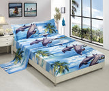 BEDnLINENS HIG 3D Bed Sheet Set -4 Piece 3D Dolphin and Palm Tree Printed Sheet Set Queen Size (D12) - Soft, Breathable, Hypoallergenic, Fade Resistant -Includes 1 Flat Sheet,1 Fitted Sheet,2 Shams