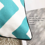 Alimama,Cotton Linen Digital Printed Geometric Pillowcases 12 x 20 Inch with Meaningful Pastoral Colors with Piping for Soft Home Decorate Cushion Covers Sham, Pack with 2 Pcs 30x50cm, Aqua B