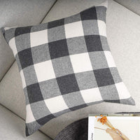 YOUR SMILE Retro Farmhouse Buffalo Tartan Checkers Plaid Cotton Linen Decorative Throw Pillow Case Cushion Cover Pillowcase for Sofa 20 x 20 Inch,Set of 2,Grey/White