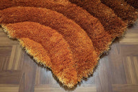 Light Orange Dark Orange Rust Brown 8 Feet by 10 Feet 3D Carved Pattern Plush Shag Shaggy Large Thick Furry Fuzzy Rectangle Decorative Designer Pile Soft Contemporary Area Rug Carpet Rug