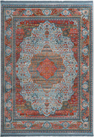 Vintage Bohemian Traditional Style Persian Oriental Medallion Design Living Dining Room Bedroom Area Rug (9 x 12, Blue Roma 1)