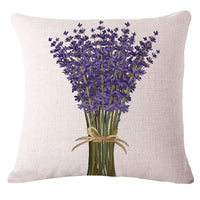 Lavender Cushion Cover Woven Linen Family Affection Sofa Car Seat Family Home Decorative Throw Pillow Case Housse De Coussin