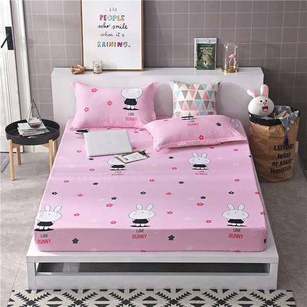 1.2m 1.35m 1.5m 1.8m Bed Sheet with Elastic Band 1pc Fitted Sheet Mattress Cover Adult Kids Child Bed Linen Single Double Size19