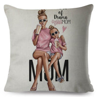 Vogue Super Mom Daddy Baby Pillow Case Linen 45*45cm Decor Cartoon Mama Cushion Cover for Sofa Pillowcase Cushions Covers