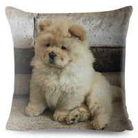 Cute Chow Chow Pet Dog Throw Pillow Cover 45*45 Cushion Covers Linen Pillow Case for Sofa Home Decor Lovely Animal Pillows Case