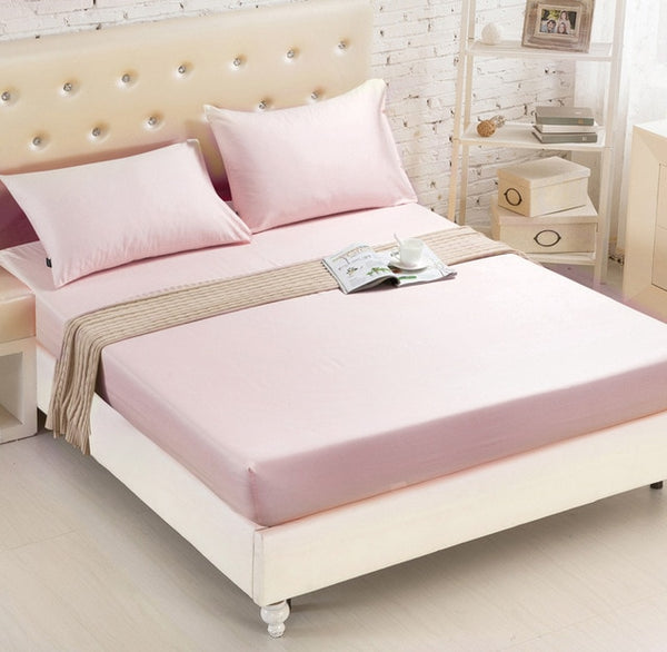 Fitted Sheet Mattress Cover Solid Color Sanding Bedding Linens Bed Sheets With Elastic Band Double Queen Size Bedsheet1.8*2 49