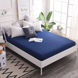 100%Cotton Solid Fitted Sheet Mattress Cover With All-around Elastic Band Bed Sheet Bed Linen Pillowcase For Queen King Size