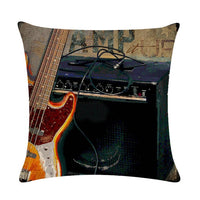 Oil Painting Moive Guitar Cushion Covers Art 45x45cm Cotton Linen Pillow Cover for sofa Square Decorate Throw Pillow Cover 1489