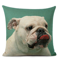 Personalized Photo Pillow Covers Customized Pug Decoration Cushions Cover Cute Bulldog Linen Seat Car Decor Pillow Case