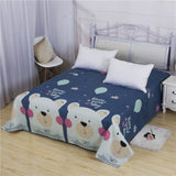 Cartoon Print 1 PC Kids Children Bed Linens Flat Bed Sheet Plain Printed For Single/ Double Bed Twin Queen King Size Bedsheets