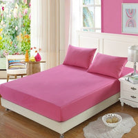 cotton Fitted Sheet Mattress Cover Solid Color Sanding Bedding Linens Bed Sheets With Elastic Band Double Queen Size Bedsheet