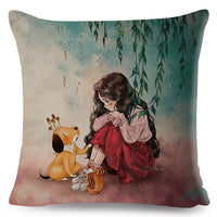 Colorful Cute Cartoon Girl and Pet Dog Fairy Tale World Pillowcase Decor for Sofa Home Pillow Case 45x45cm Linen Cushion Cover