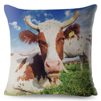 Funny Animal Dairy Cow Cattle Print Pillow Cover 45*45cm Cushion Cover Throw Pillows Cases Sofa Home Decor Linen Cushion Covers