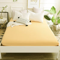 Fitted Sheet Mattress Cover Solid Color Sanding Bedding Linens Bed Sheets With Elastic Band Double Queen Size Bedsheet 1 pcs