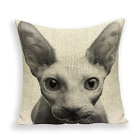 Wandering Tribe  New Cartoon Lovely Cat Black Decorative Cushion Cover Throw Pillowcase Linen Fabric Home Decor Sofa Bed Kissen
