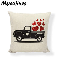 Valentine Day Present Cushion Cover Red Heart Truck Love Gifts Pillowcase Festival Letters Pillow Cover Decorative Throw Pillows