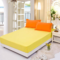 Bed Sheet with Pillowcase pure colour Bed Linen Queen Size Mattress Covers Fitted Sheet Sets With Elastic For King Size