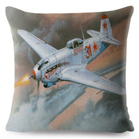 Cartoon Airplane Fighter Print Throw Pillow Cover 45*45cm Textile Cushion Covers Linen Pillow Case Sofa Home Decor Pillows Cases
