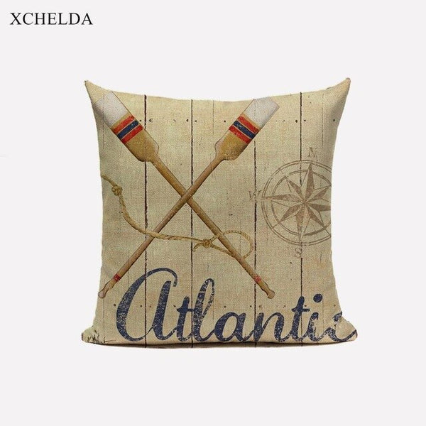 Cushion Cover Nautical Sailor Anchor Theme Print Linen Throw Pillowcase Marine Decorative Pillow case for Home Sofa Car Seat