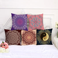 45x45 cm Round Mandala Gradient Printed Cushion Covers Cotton And Linen Fabric Bohemia Styles For Sofa Chair Square Pillow Cases