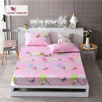 Slowdream 1PCS Butterfly Pattern Bed Sheet On Elastic Band Rubber Fitted Sheet Pillowcases Bed Linen Polyester Double Single