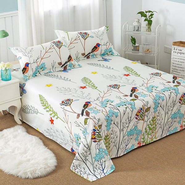 100% Cotton Flower Bird Bedding Mattress Protector Cover Cartoon Plaids Linens Bedspread 1pc flat bed sheet and 2pcs pillowcase