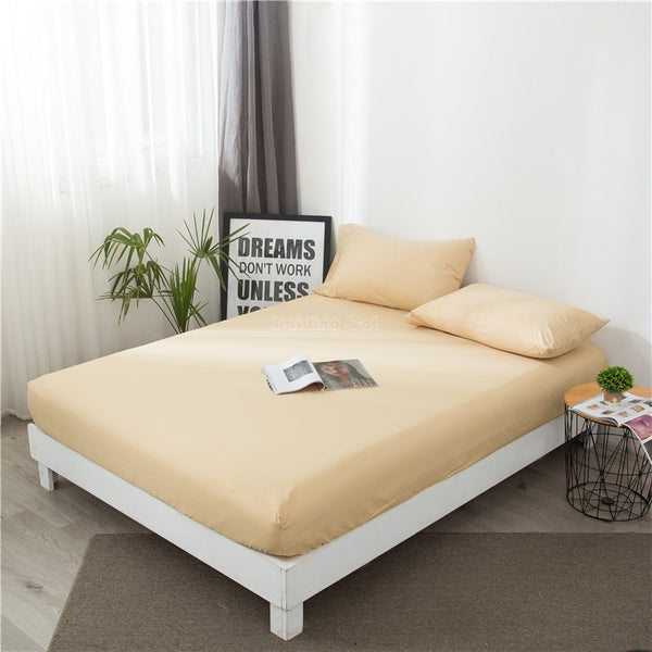 1pcs Solid Color Fitted Sheet Mattress Cover Beige Yellow Bedding Linen Bed Sheet with Elastic Band Double Queen 180*200cm Size
