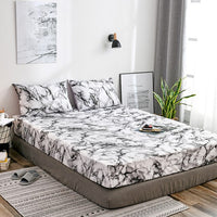 Liv-Esthete Nordic Marble Pattern Polyester Fitted Sheet Pillowcase Soft Mattress Cover Bed Linen Bed Flat Sheet On Elastic Band