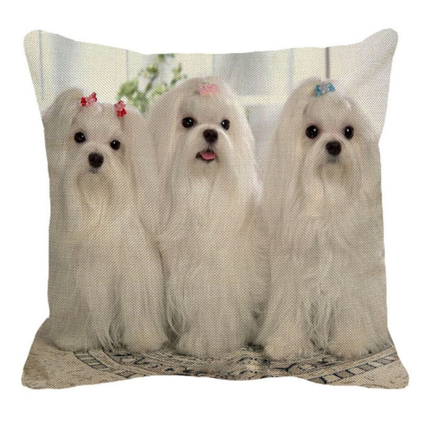 XUNYU 45x45cm Cute Maltese Dog Pattern Linen Pillow Case Decortive Cushion Cover Home Sofa Square Pillow Cover BZ173