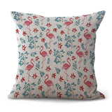 Creative Flamingo Printing Cushion Cover Cotton and Linen Cartoon Flamingo Decorative Throw Pillow Case for Sofa Cushions Cover