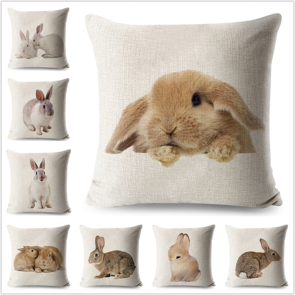 Bunny Home Decor Cushion Cover Cute Rabbit Throw Pillowcase Pillow Covers Home Decorative Throw Pillow Cover Cotton 45 * 45 cm