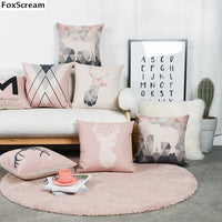 Nordic Style Cushion Decorative Pillows Cover Elephant Gray Throw Pillows Case Pink Deer Geometric Cushions Cover for Sofa 45x45