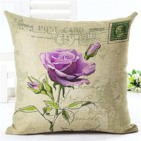 Euro Style Home Decor Cushion Cover Big Rose Throw Pillow Case Sofa Seat Vintage Flowers Cushion Cover Decorative Cotton Linen