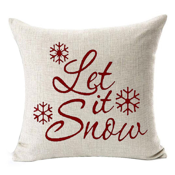 Let It Snow Beautiful Snowflakes Merry Christmas Gifts flax Throw Pillow Case Cushion Cover Home Decorative Square Black friday