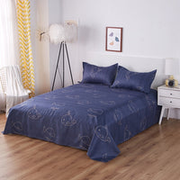 King Size Bed Sheet With Pillowcase Single Double Queen Bed Linen Reactive Printed Flat Sheet Set Leaf Bedding Sheet Sets