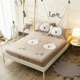 160X200cm 100%Cotton Girls Fitted Sheet Bed Sheet Linen set Mattress Cover With Elastic Band Sheet College Dorm Queen Twin size