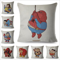 Cute Cartoon Fat Marvel Avengers Superman Iron Man Spider-man Pillow Case Cushion Cover for Sofa Decor Throw Pillowcase