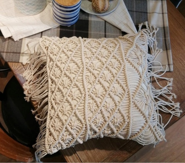 45*45cm 100% Cotton Linen Macrame Hand-woven Cotton Thread Pillow Covers Geometry Bohemia Cushion Covers Home Decor