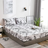 Bed Sheet Fitted Sheets With Elastic Band 160x200 Bed Mattress Cover Bedsheet Bedding Marble Bed Linen Double Single adult King