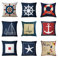 New Cushion Cover Blue Anchor Sailor Nautical American Marine Style Cotton Pillow Case Home Decorative Pillows Cover For Sofa