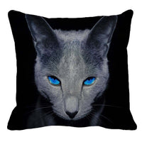XUNYU Cute Pet Russian Blue cat Pattern Square Linen Pillow Case Home Sofa Pillow Cover Animal Cushion Cover 45x45cm AC123