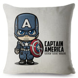 Cartoon Marvel Hero Thor Iron Man Print Throw Pillow Cover 45*45cm Cushion Covers Linen Pillow Case Car Home Decor Pillows Cases