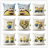 High Quality pillow case Home Decorative pillows  Cartoon Style  Linen cushion cover Minions  Throw Pillow Square Cojines
