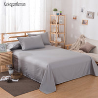 Gray White Black 100% Cotton Luxury Flat Sheet Bed Sheet Cover Bedding Linen Pillowcase Single Twin Full Queen King Solid Color