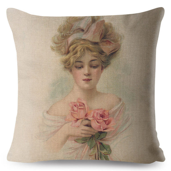Europe Vintage Woman Lady Girl Print Throw Pillow Cover 45*45 Square Cushion Covers Linen Pillow Case Home Decor Pillows Cases