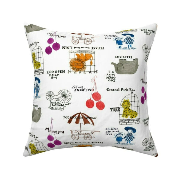Zoo Animals Colorful Nursery Throw Pillow Cover w Optional Insert by Roostery