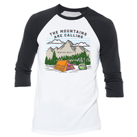 The Mountains are Calling Tee, Unisex 3/4 Sleeve Raglan