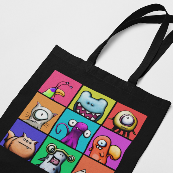 Tote, The Critter Bunch in Black