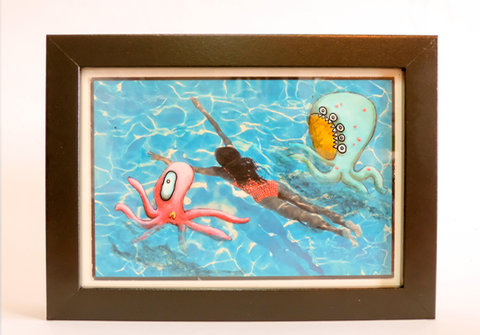 Postcard Painting - Swimmin' - kudu-lah