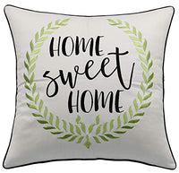 "YugTex Home Sweet Home Wreath Embroidered Cotton Ivory Decorative Accent Pillowcase For Farmhouse Sofa Chair Porch Entryway Living Room Bedroom (18""x18"", Home Sweet(Golden))"